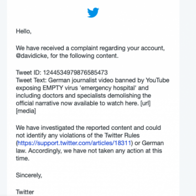 Complaint against Davidicke.com for posting video of German journalist at EMPTY coronavirus emergency unit rejected by Twitter. Someone obviously doesn't want you to see it - so here it is again.