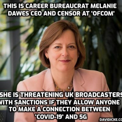 This is the government bureaucrat threatening UK broadcasters with consequences if they allow discussion about a connection between 'Covid-19' and 5G - thus confirming there is absolutely a connection. Thank you for that, Ms Dawes, appreciated