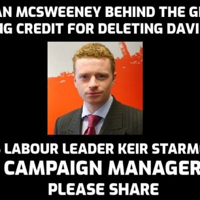 Morgan McSweeney from group claiming credit for David Icke deletion from Facebook and YouTube was Labour Party leader Keir Starmer CAMPAIGN MANAGER! Get off your knees Labour Party members - your party has been hijacked. PLEASE SHARE