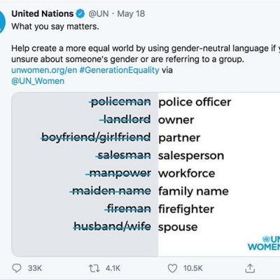 United Nations On Twitter Gender Neutral Language