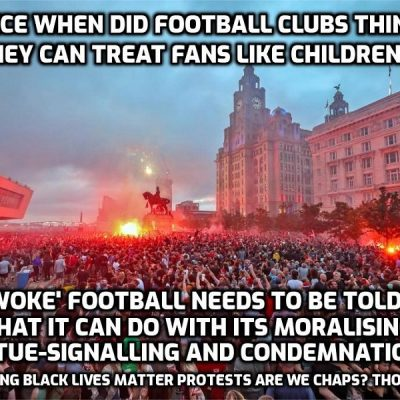 Liverpool fans behaviour ignoring social distancing in title celebrations condemned by club and city authorities - football used to be the working class game, but now it's The System's. Enjoy people