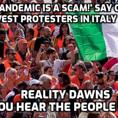 Italy 'Orange Vests' movement protests that say coronavirus pandemic doesn't exist as they reject masks and lockdown