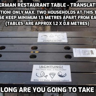 Stupid is the new normal - Germany: Keep further apart at the table than the size of the table