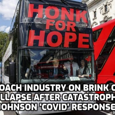 Honk for Hope: Coach drivers blast their horns in central London protest over lack of Covid-19 financial help as coach industry heads for collapse