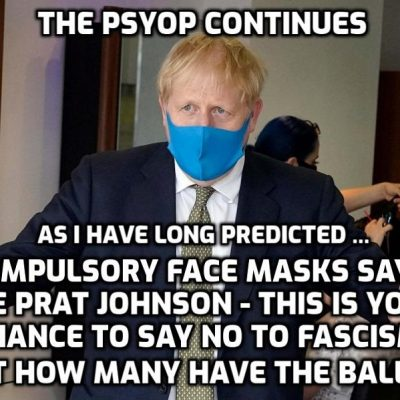 Mandatory mask locations increased by fascist Johnson regime on the way to making it mandatory everywhere - we are dealing with fascism people. Face it - without a mask