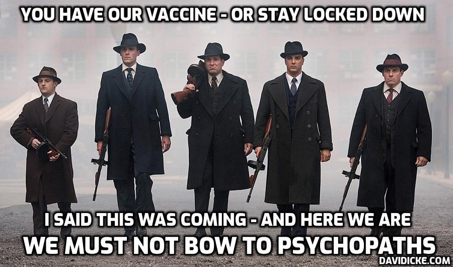 Anyone without a fake 'vaccine' that isn't a 'vaccine' could be BANNED from pubs, restaurants and even workplaces under radical new fascist plan that has been the goal from day one. How long are you going to take this shit from moronic people doing the bidding of psychopaths?? You take it – they'll go on giving it