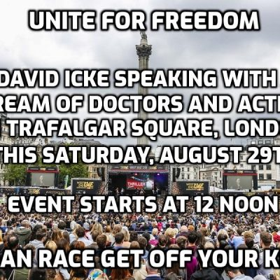 David Icke speaking with a stream of doctors and activists from around the world at Trafalgar Square 'pandemic' freedom protest this Saturday