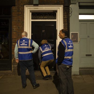 Strange sight - City Inspectors, working through Soho, looking for illegal speakeasies open after the 10pm cutoff