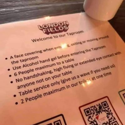 The ludicrous London Fields Brewery bans 'extended eye contact with anyone not on your table'. No one will ever go here again surely? They are insulting you - the arrogance and stupidity of it