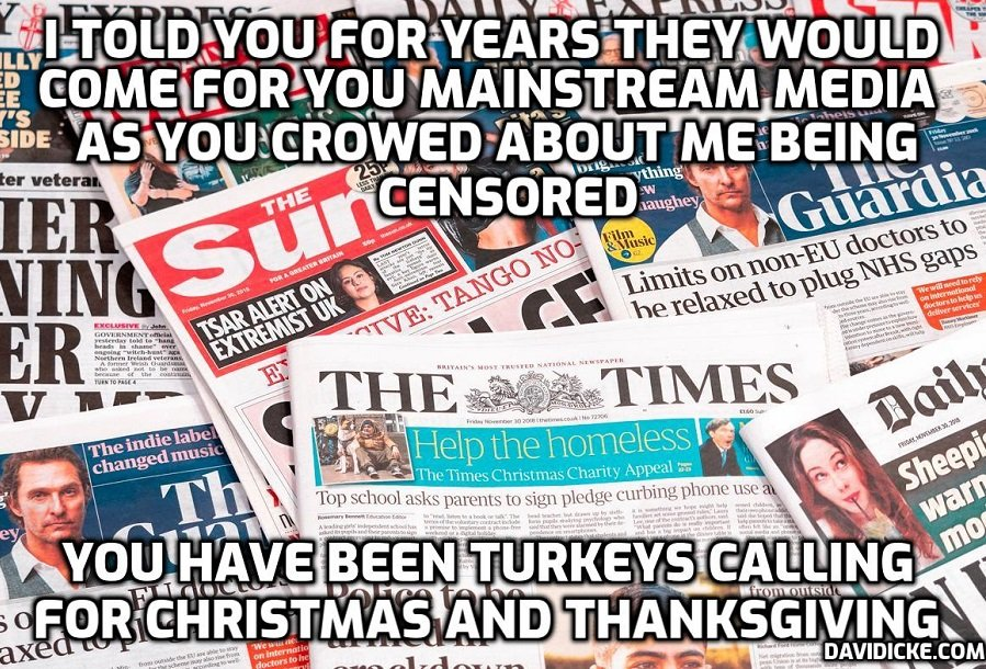 Now Silicon Valley Is Coming For The MSM - David Icke