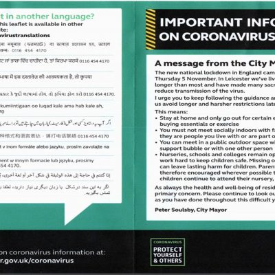 Ludicrous Leicester mayor sends 'Covid' lockdown leaflet to every household - money no object to program behaviour