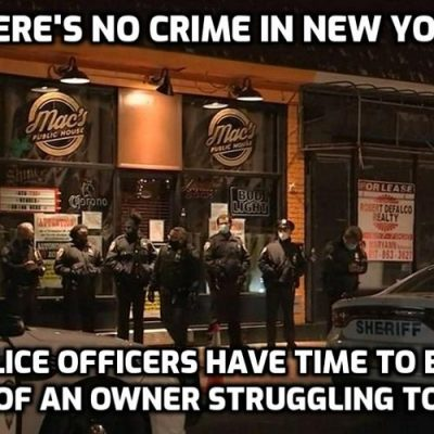New York pub owner who refused to close taken away in handcuffs while 25 sheriffs block the entrance and his lawyer is fined for representing him as big crowd gathers to protest