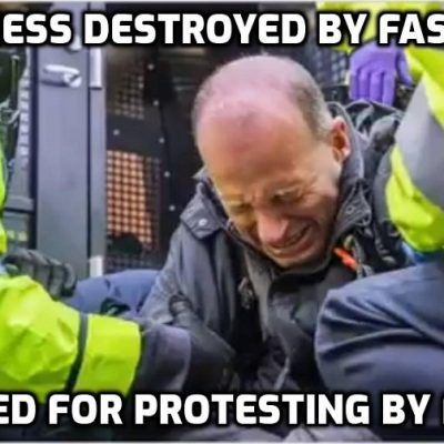 The fascists destroyed his business then arrest him for protesting. Jackboot Johnson's Nazi Britain