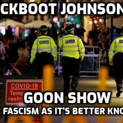 Fascist Britain policed by Jackboot Johnson SS and complete goons - police argue with customers over whether a scotch egg is a meal and throw people out of pubs when they have finished eating, It makes all the difference to the fake 'virus', of course