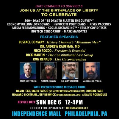 Philadelphia freedom rally where David Icke is speaking has been moved from Saturday to this Sunday due to extreme weather - here are the details