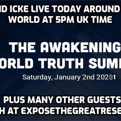 David Icke and other speakers live today at the Awakening World Truth Summit - starts at 5pm UK and noon Toronto time when David will be the first guest - watch at exposethegreatreset.com
