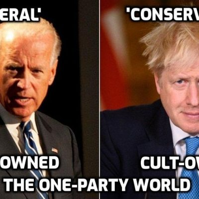 Cult-owned 'Build Back Better' Biden and Johnson speak on the phone in support of the Cult's 'Great Reset' - a classic example of the one-party world