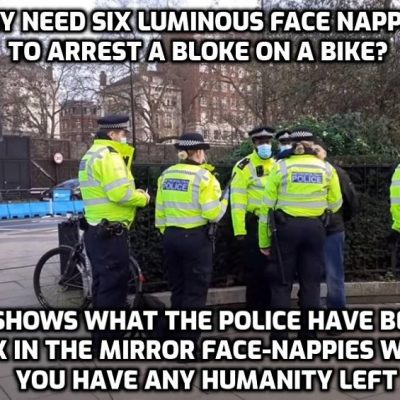 Face-nappy enforcers of fascism revealed in all their grotesqueness in Hyde Park video