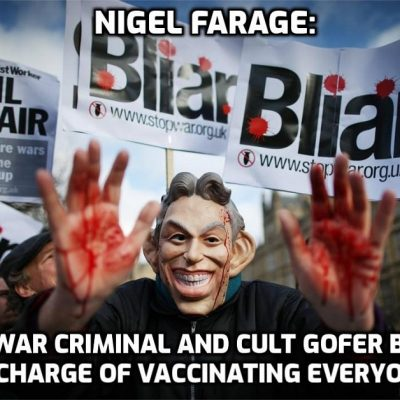 One-trick pony (Brexit) Farage is really Establishment Man behind the 'man-of-the-people' bullshit: 'Put Tony Blair in charge of vaccination programme'
