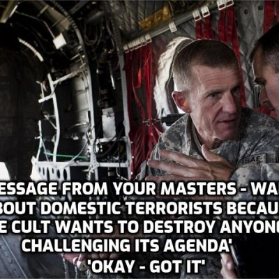 Stanley McChrystal, the former US general who led the disastrous war in Afghanistan, now warns about the threat of 'domestic terrorists' (anyone who knows the government and people like McChrystal are lying to them) - he's reading from the Cult script of course as always with him