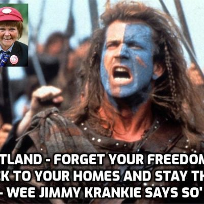 The long-planned script unfolds - as Jimmy Krankie delays Scotland's 'Level 0' Freedom Day until July 19 with social distancing, masks and working from home until AUTUMN (and therefore through the Winter) - amid fears Johnson will have to follow her lead again (Read the same script she is reading). Scottish football fans can ignore restrictions in London and police could do nothing, but not in their own country when Jimmy Krankie tells them what to do. Bizarre (and pathetic)