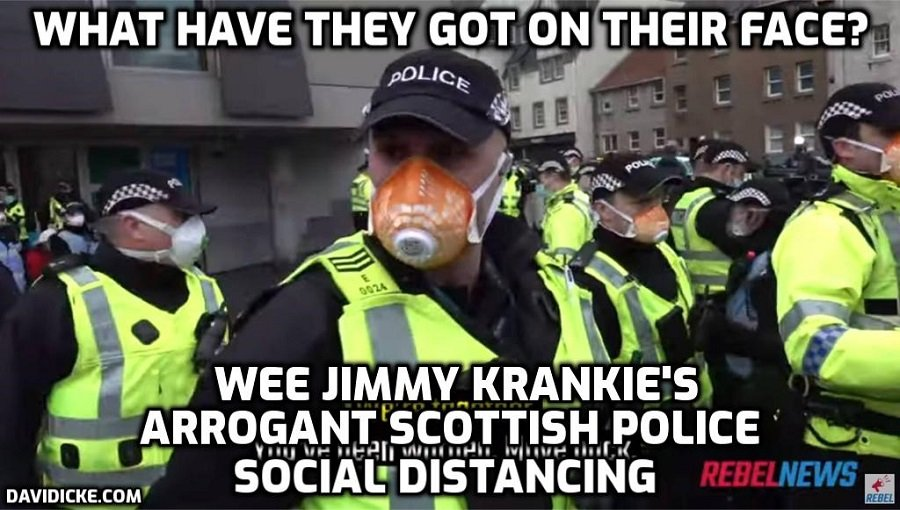Arrogant and aggressive Scottish police with mega-ridiculous monkey face nappies make arrests at Edinburgh lockdown rally