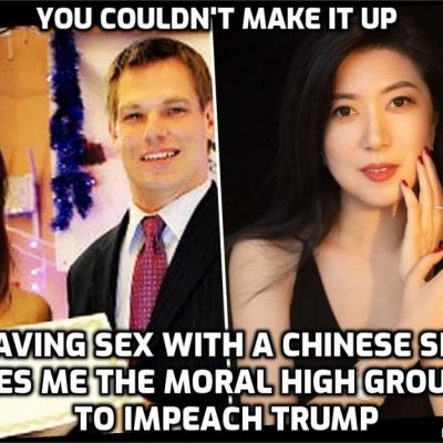 Hypocrite Democrats and backbone-deleted Republicans ludicrously seeking to impeach Trump in his last week in office for coldly-calculated political reasons that have nothing to do with the country and everything to do with serving the Cult agenda - impeachment manager is Eric Swalwell who had a long-term sexual relationship with a Chinese spy. What a joke