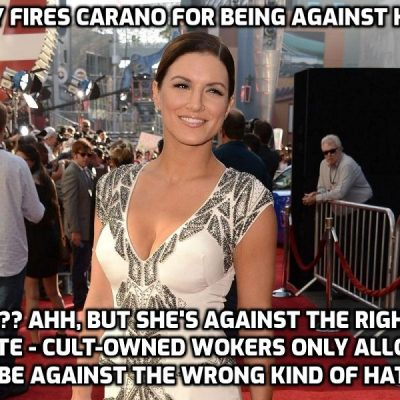 Big-time Cult-owned Disney fires actress Gina Carano over Instagram post warning AGAINST hate and rightly comparing what is happening in Biden America with Nazi Germany - it's 'anti-Semitic' to say that says dark and ludicrous Disney. A classic case of saying someone is wrong and reacting by proving her right. I know it so well