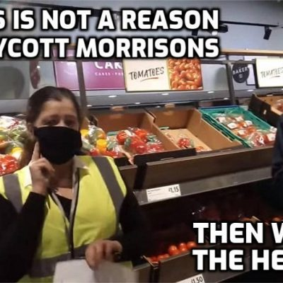 Face-nappy Yellowshirt called by Morrisons face-nappy staff when mask-exempt customer refuses to wear a yellow sticker (Wasn't there a yellow badge that Jews had to wear in Nazi Germany? I do believe there was)