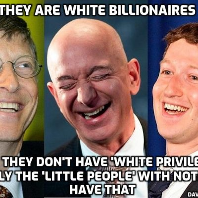 Why are billionaires like Gates, Soros, Bezos and Zuckerberg never accused of having 'white privilege'? Because the billionaires own the Wokers and their organisations that condemn the 'little people' with nothing as having 'white privilege'
