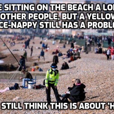 Fascist moronic UK Yellowshirt face-nappies set up 'Covid' checkpoints to catch 'lockdown flouters'  as humans sitting in the sun becomes a criminal offence - this was never about health as even one-time believers are starting to see
