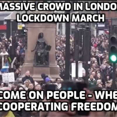 Massive crowd gathers in London for peaceful lockdown march and in other European cities while media lies about 'Thousands of anti-lockdown protesters clash with police' (Channel 4 News) and 'Anti-lockdown mob clashes with cops' (The Sun). My god, it's pathetic