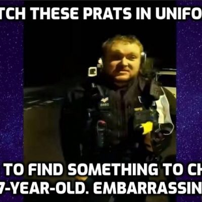 Face-nappies (and the worst one without) target a 17-year-old for 'Covid breach' and anything else they can find - but then his father intervenes and the true arrogant, clueless, idiocy of the uniforms is laid bare