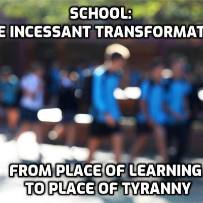 The extraordinary dumbing down and indoctrination of children at school all day by psychopathic administrators and lunatic, moronic 'teachers'. Has to be seen to be believed and parents are pushing back