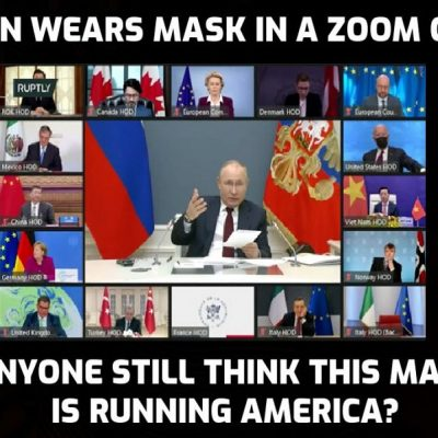 Biden protects himself from getting the 'virus' by wearing a mask sitting alone on a Zoom call while Carlson is incredulous at 'vaccinated' people being told to wear masks to protect the 'unvaccinated'. Ugh? It makes no sense because it's about control and turning the 'vaccinated' against the 'unvaccinated'
