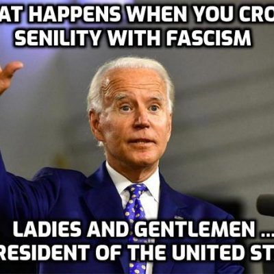 Moronic fascist Biden: 'Get vaccinated or wear a mask until you do.' Fuck off, mate. Just saying