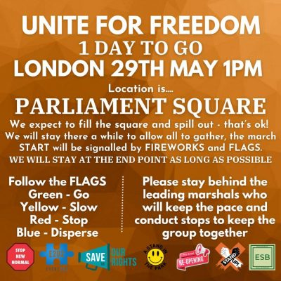 London Freedom March details Saturday, May 29th