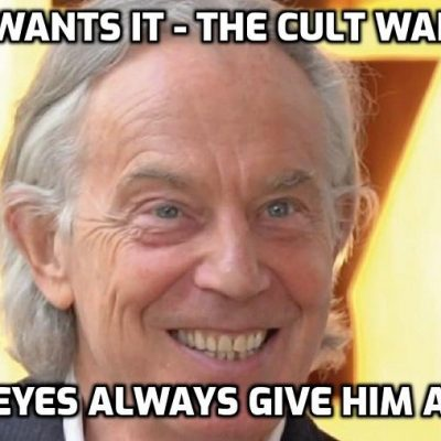 War criminal and Cult gofer Blair says it's 'time to distinguish' between vaccinated and unvaccinated in statement straight off the Cult script that he slavishly promotes. It's actually 'time to distinguish' between human beings and psychopaths like Blair