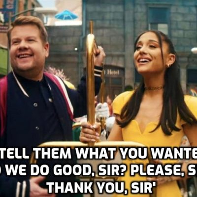 Establishment clone James Corden sings lies to you (very badly) in a puke-making video licking the arse of the global elite (as is Ariana Grande)