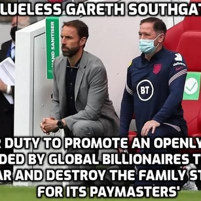 'Footballers SHOULDN'T just stick to football': England manager Southgate insists players have a duty to 'raise awareness and educate' in open letter to England fans who booed at team for taking the knee - But it's clearly not their duty to first educate THEMSELVES on what they are talking about. What he means by 'raise awareness' is promote propaganda