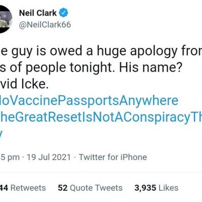 Acknowledging David Icke as the long-planned - and long denied - vaccine passports come to pass
