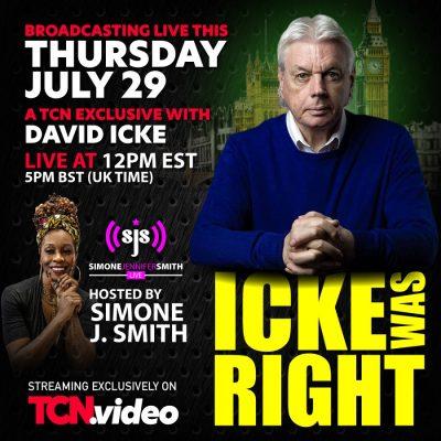 David Icke live on Toronto Caribbean this Thursday with Simone J.Smith