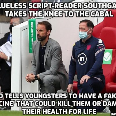 Disgraceful football manager Southgate tells young people to have a fake 'vaccine' that has already damaged so many youngsters worldwide because he is an establishment gofer who has no idea what he is talking about. It is very encouraging, however, to read the comments under the video to see that so many are not taking this bullshit any longer and being told what to do by these vacuous celebrity clowns
