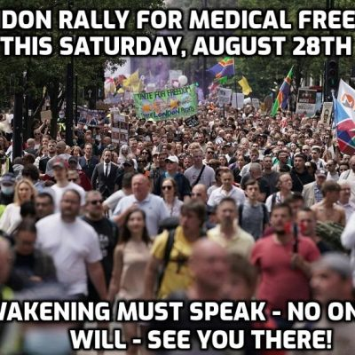 Unite For Freedom Rally, London, This Saturday, August 28th - show the psychopaths the awakening won't be intimidated into silence or compliance. It's a supreme time to stand against tyranny and for freedom