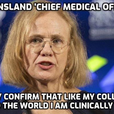 Mentally ill Queensland 'Chief Medical Officer' bizarrely calls for locked-down residents NOT to open their front doors or even shop ONLINE until Sunday as 16 new cases are recorded overnight - your lives are being run by psychopaths and the clinically insane. What are you doing OBEYING THEM??