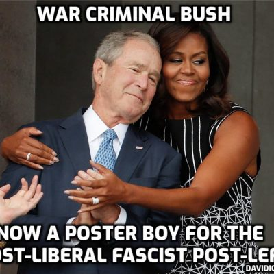 Fascist war criminal and full-time idiot Boy Bush is now the darling of the fake 'liberal' fake 'left' for comparing 9/11 in which 3,000 people died with January 6th when one person died - shot by a brain-dead 'cop'