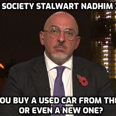 Secret society psychopath Zahawi: Britain may face 'firebreak' lockdown at October half-term. Well wave a feather and I shall swoon